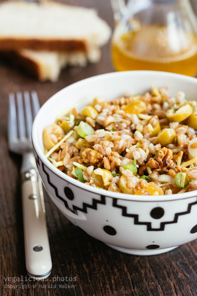 Stock photo of Emmer (Farro) with Green Olives, Raisins and Walnuts