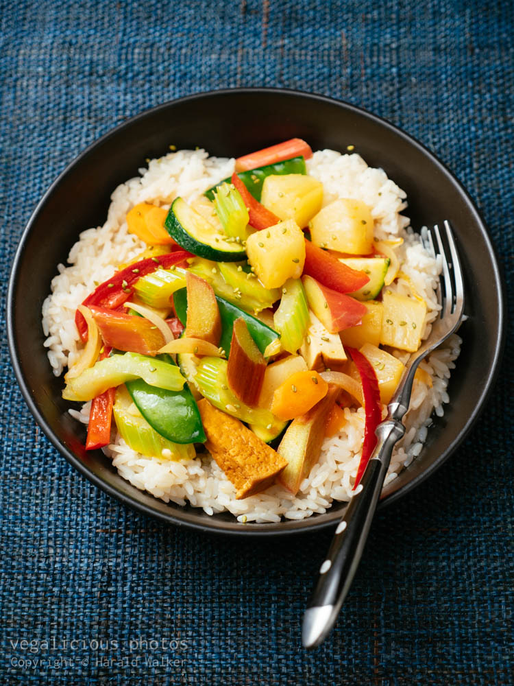 Stock photo of Sweet Sour Vegetables with Rhubarb, Pineapple and Tofu
