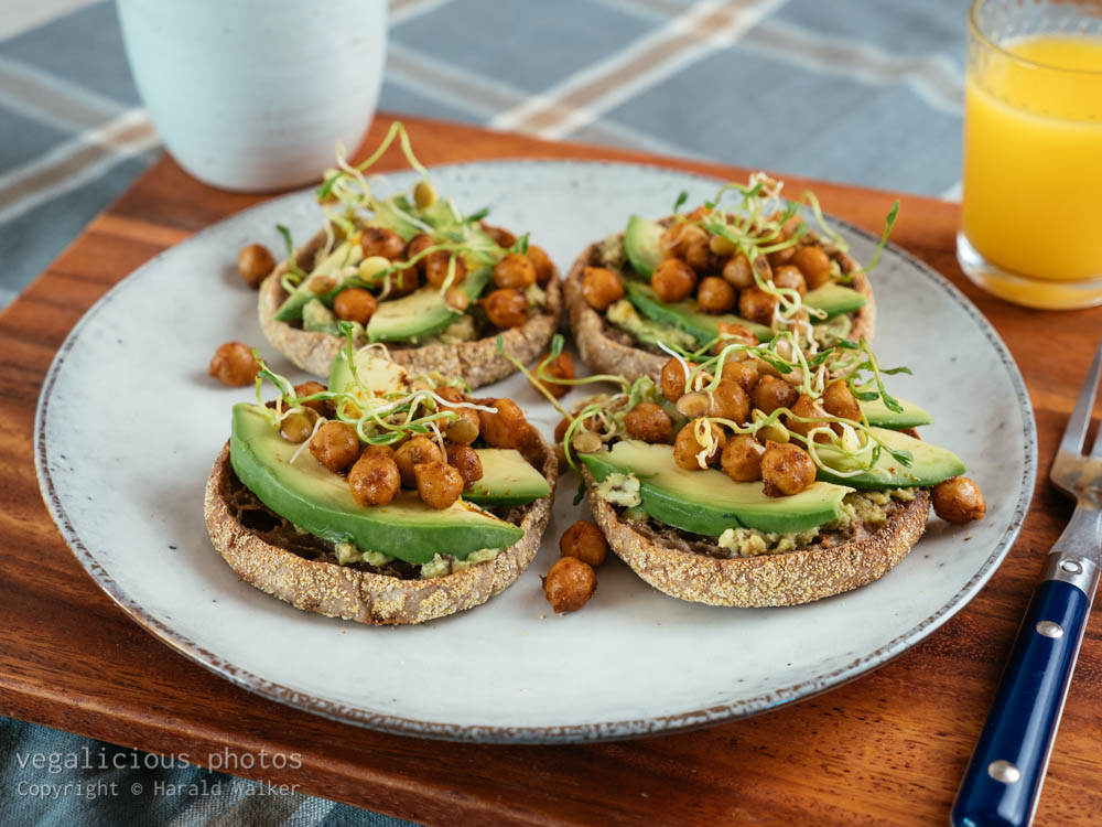 Stock photo of Avocodo on english Muffins with Spicy Chickpeas