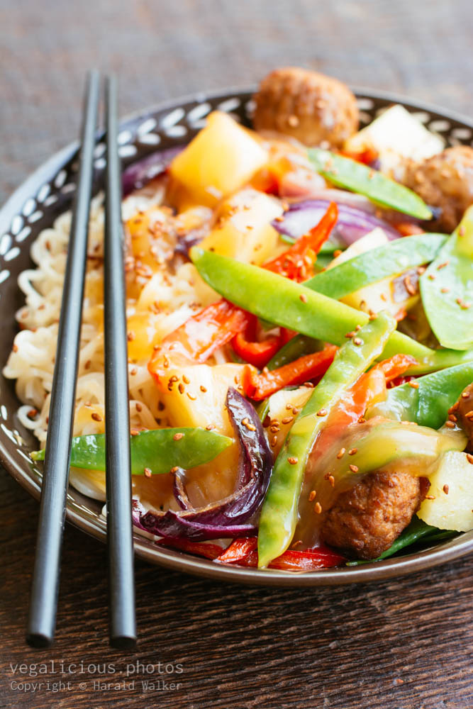 Stock photo of Sweet Sour Wok Vegetables with Noodles