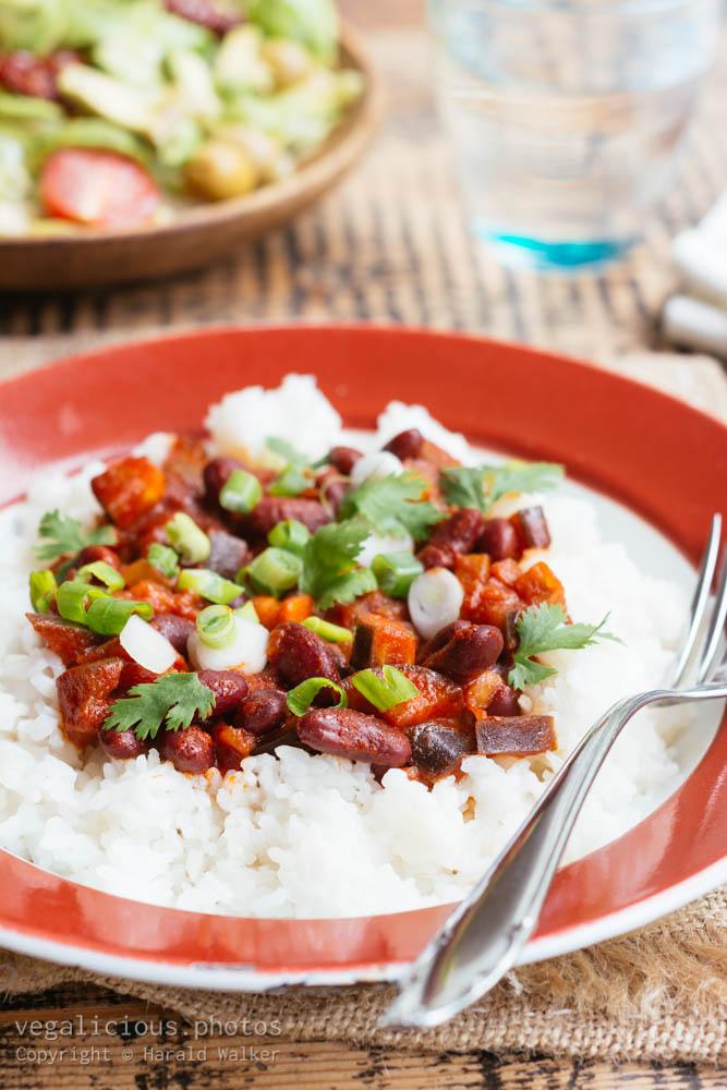Stock photo of Eggplant, Kidney Beans Stew on Rice