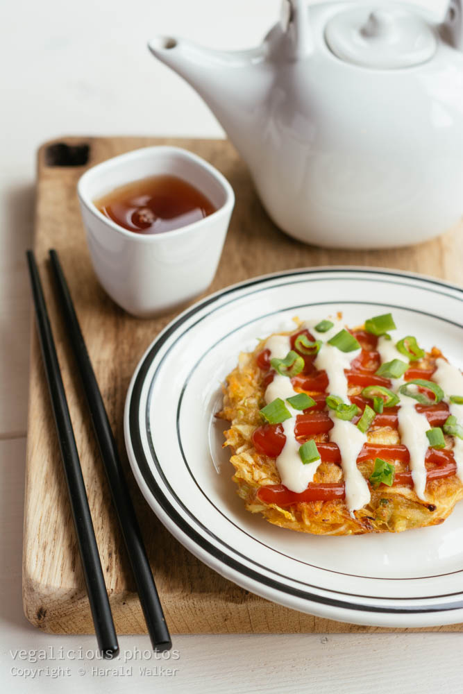 Stock photo of Okonomiyaki – Japanese Cabbage Pancakes