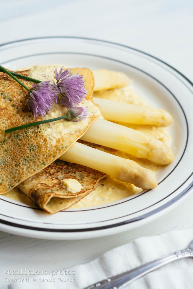 Stock photo of Herbed Crepes with Asparagus and Vegan Hollandaise Sauce