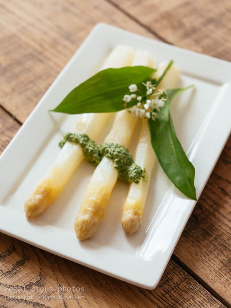 Stock photo of White Asparagus with Wild Garlic Pesto