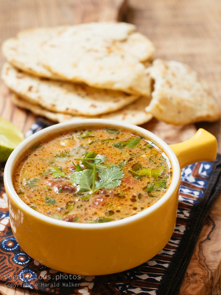 Stock photo of Curried Mung Bean Soup with Naan Breads