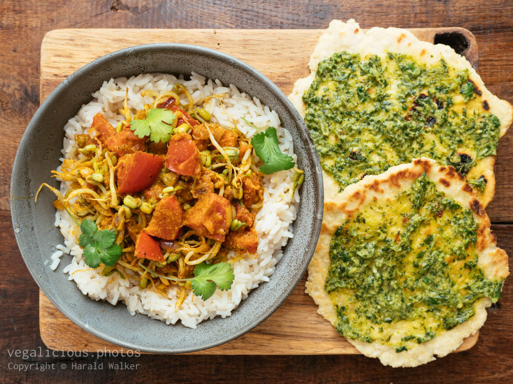 Stock photo of Curried Mung Bean Sprouts on Rice
