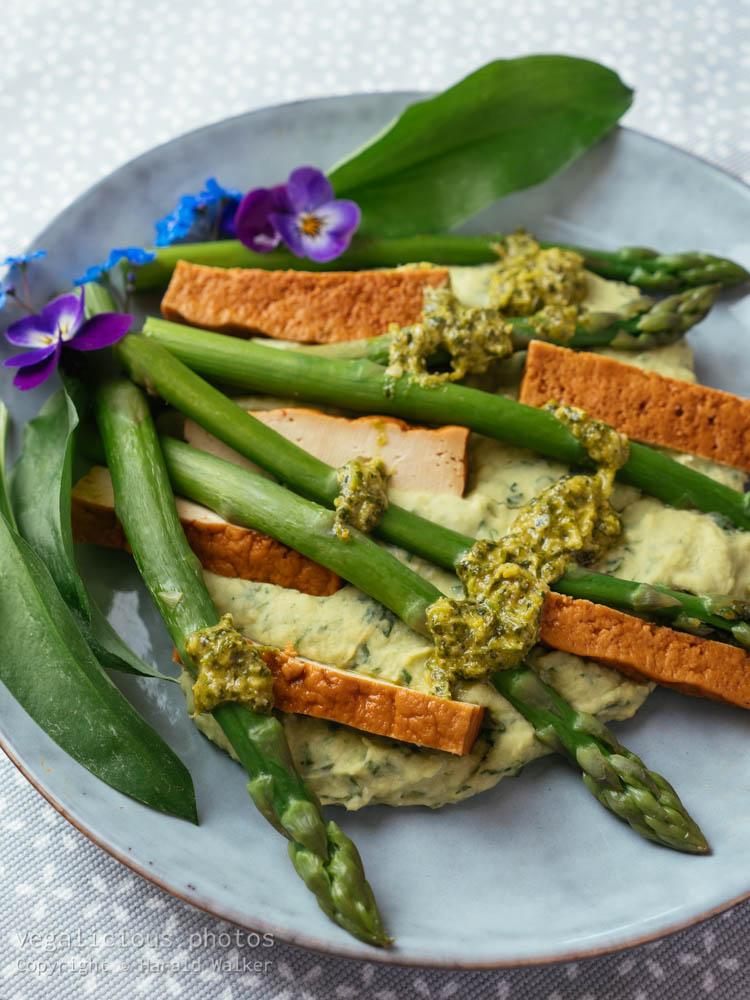 Stock photo of Wild Garlic Hummus with Asparagus, Smokey Tofu and Coriander Pesto