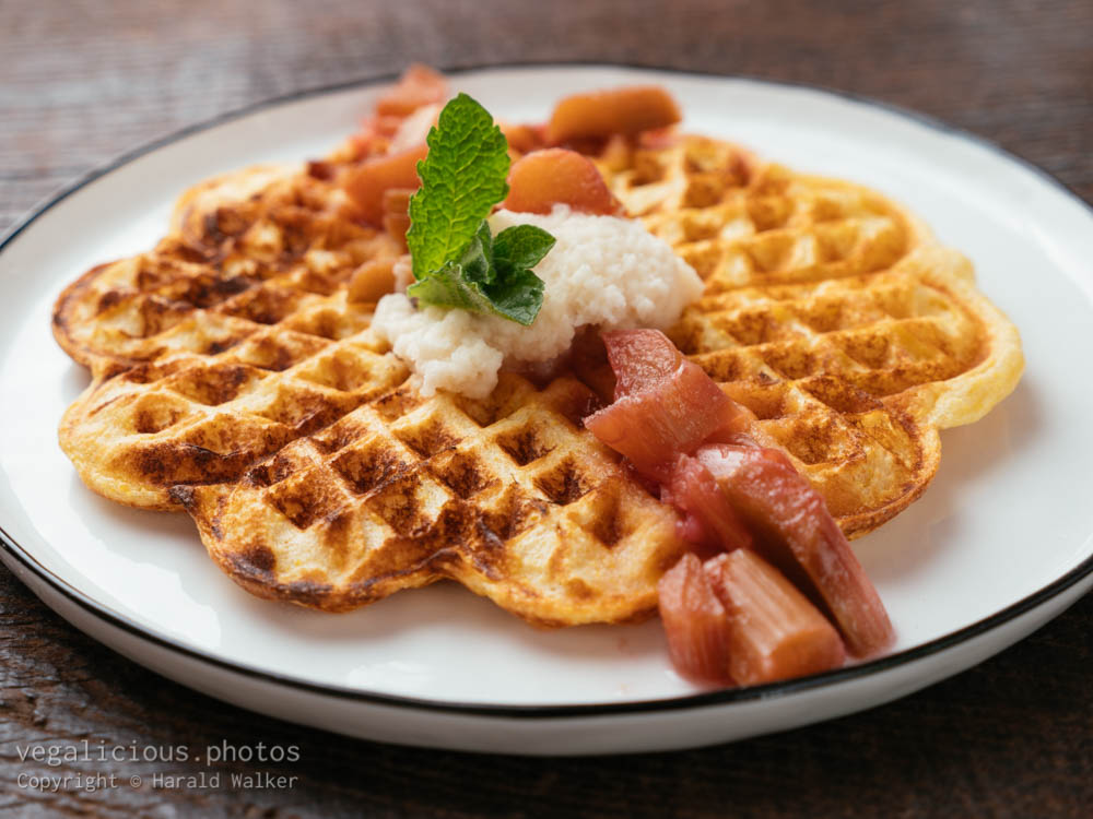 Stock photo of Vegan Waffles with Rhubarb Sauce
