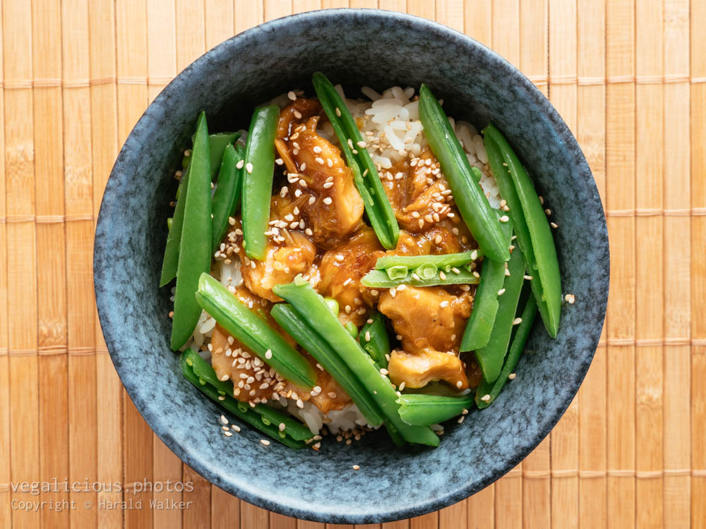 Stock photo of Asian Rhubarb Sauce on Vegan Chickun with Snow Peas