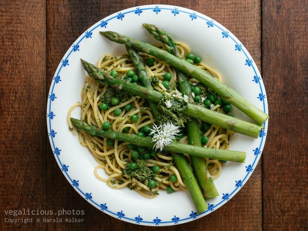 Stock photo of Springtime Pasta with Asparagus, Peas and Wild Garlic Pesto