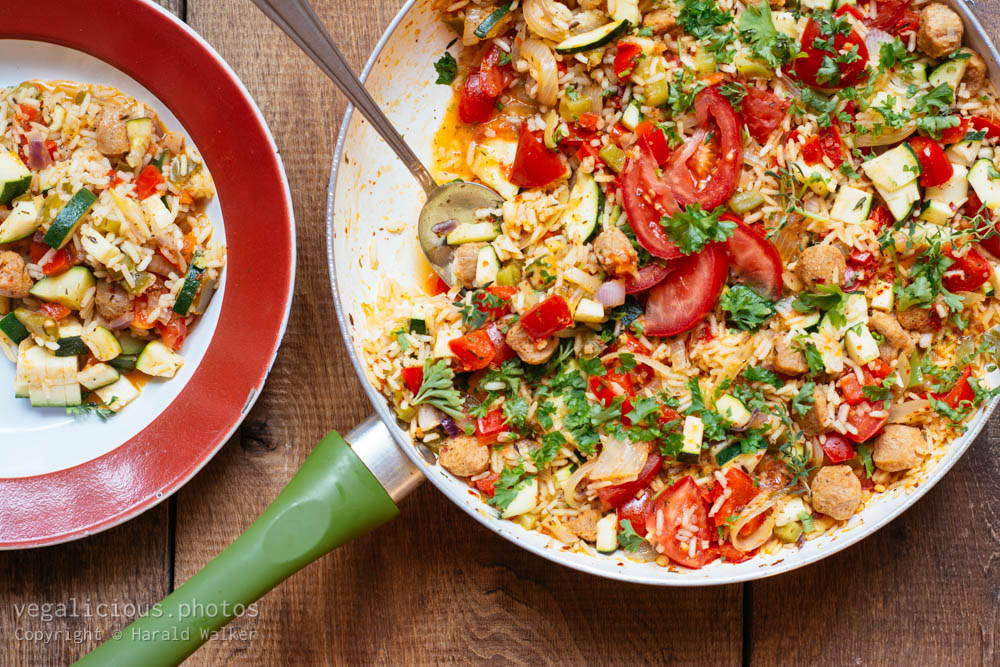 Stock photo of Basque Vegetable Rice with Soy Chunks