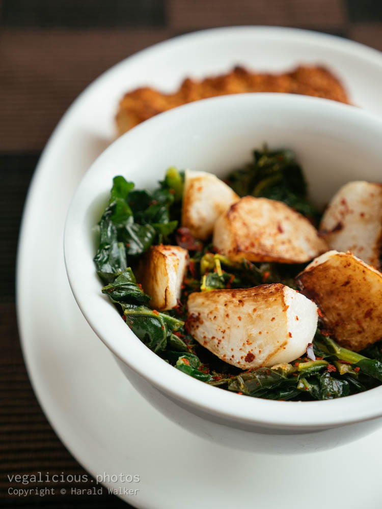 Stock photo of Turnips and Turnip Greens with Cornbread