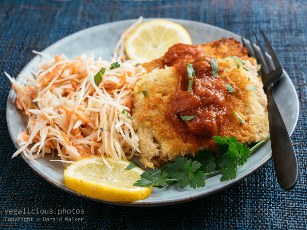Stock photo of TVP Schnitzels with Rhubarb BBQ Sauce