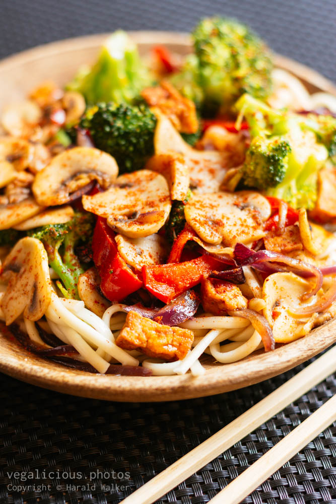 Stock photo of Asian Stir-Fry Veggies On Noodles
