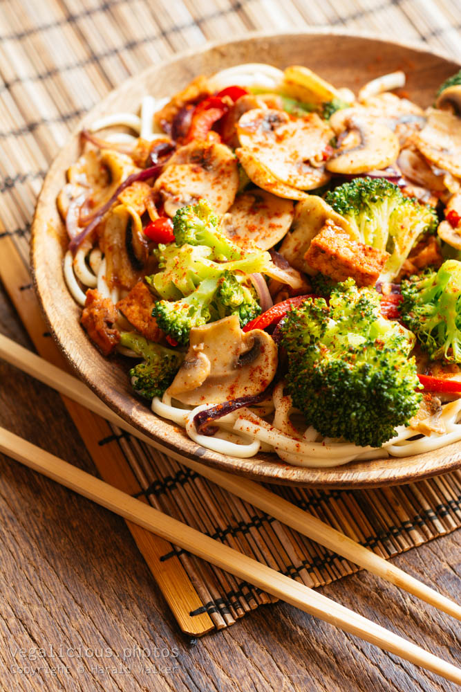 Stock photo of Stir-fried Veggies on Udon Noodles