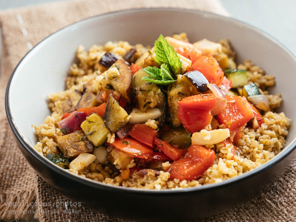 Stock photo of Mediterranean Vegetables on Freekeh