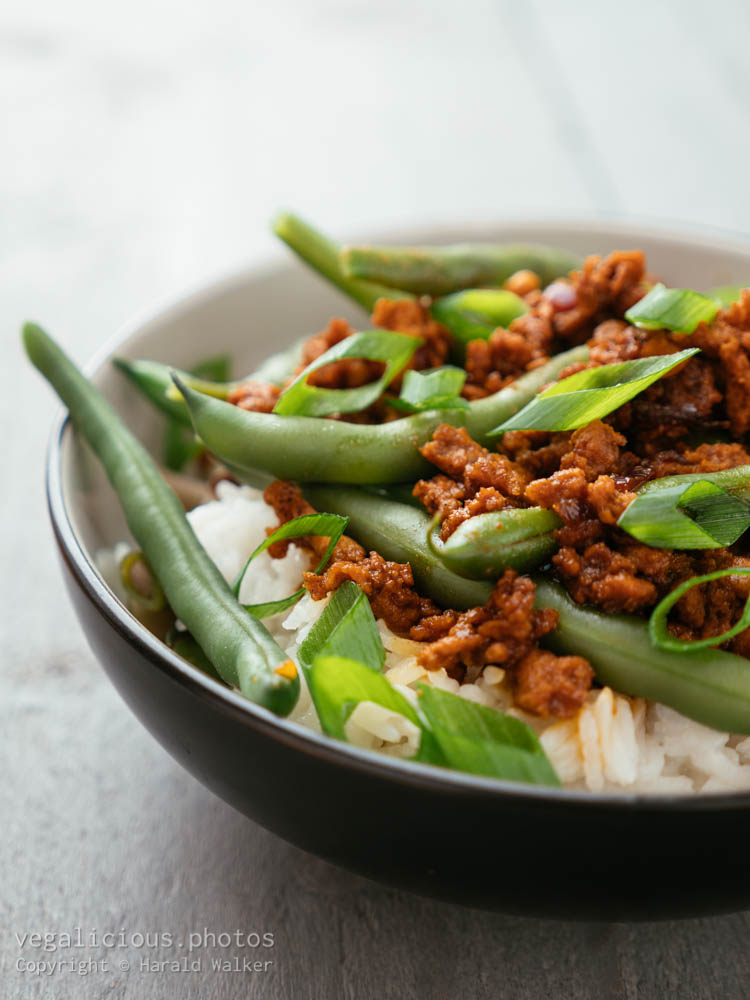 Stock photo of Korean Minced TVP and Green Bean Bowl