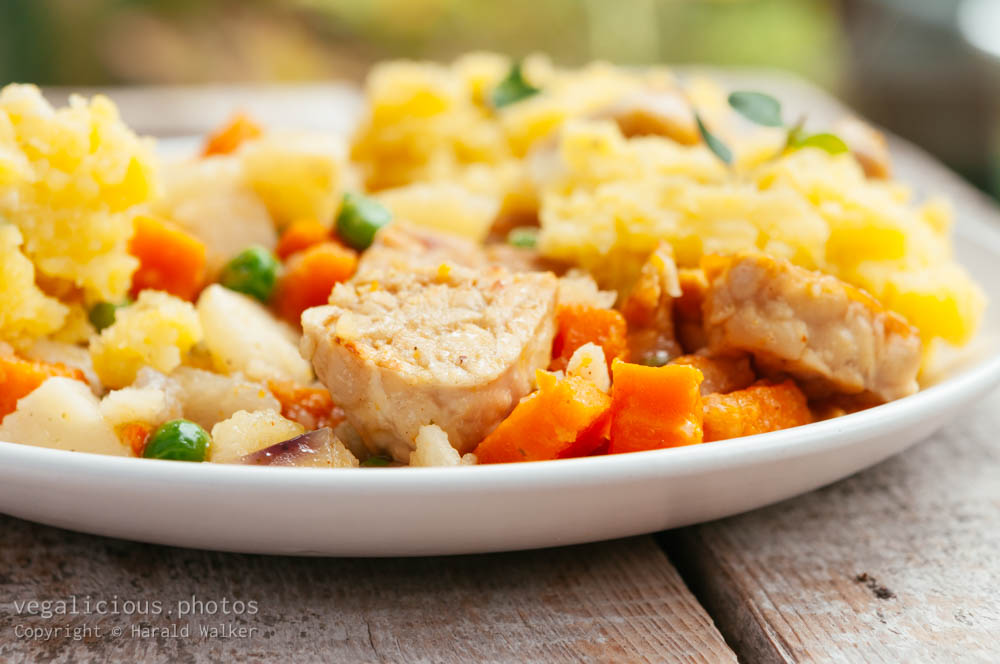 Stock photo of Tempeh Stew with Garlic Mashed Potatoes