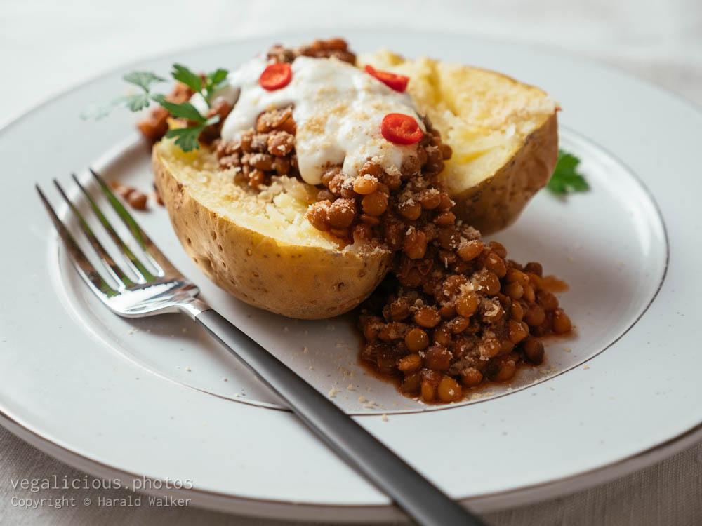 Stock photo of Chili Lentils on Baked Potato