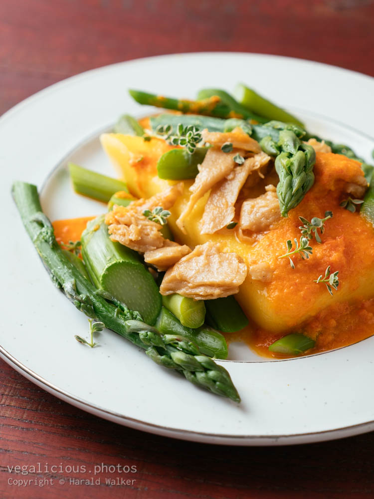Stock photo of Polenta with Asparagus, Vegan Chickun and a Creamy Bell Pepper Sauce