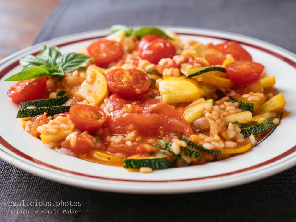 Stock photo of Zucchini, Tomato Risotto