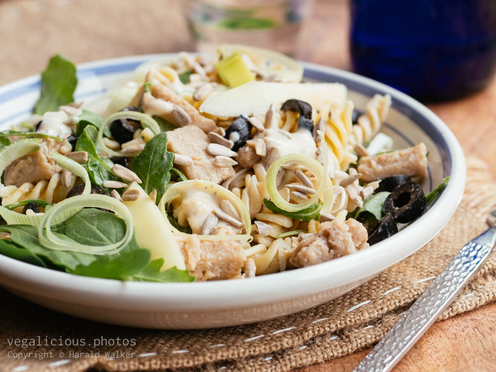 Stock photo of Spiral Pasta with Vegan Chickun Pieces and Pears