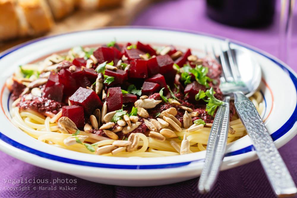 Stock photo of Purple Pesto Pasta with Beets