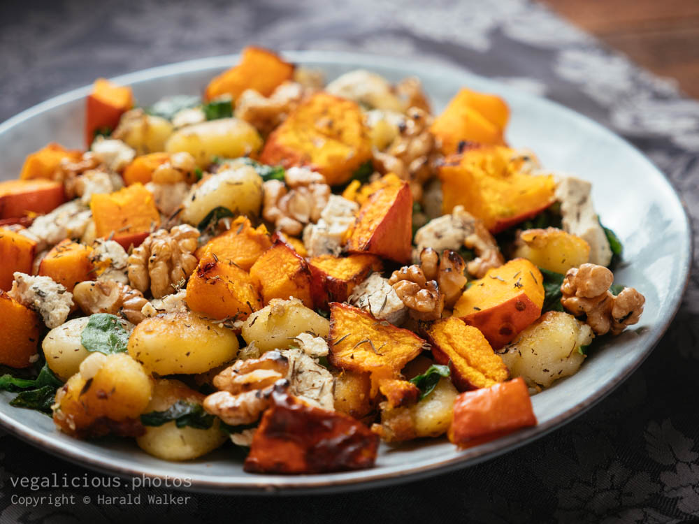 Stock photo of Gnocchi with Roasted winter Squash, Spinach and Walnuts