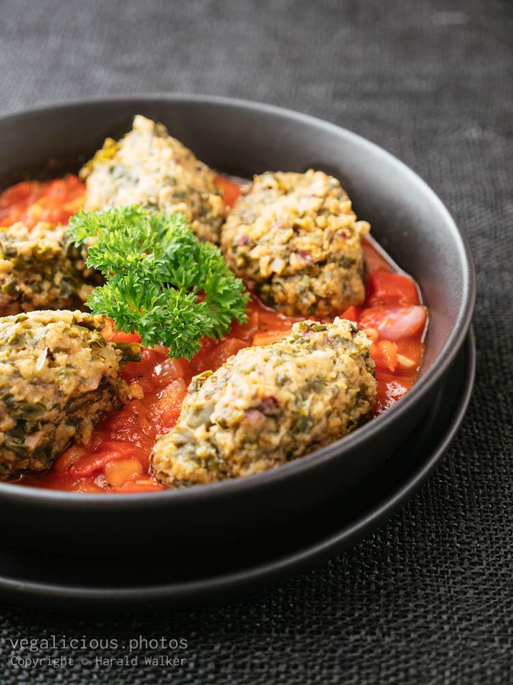 Stock photo of Malabar Spinach Dumplings in Tomato Sauce