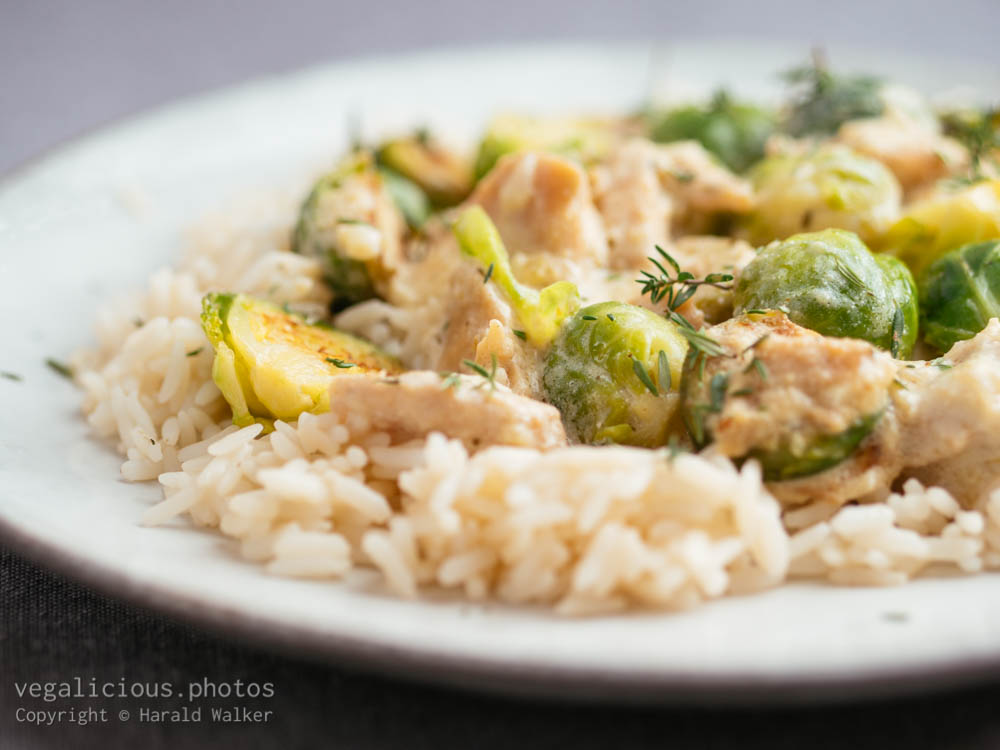 Stock photo of Vegan Chickun And Brussels Sprouts Alfredo