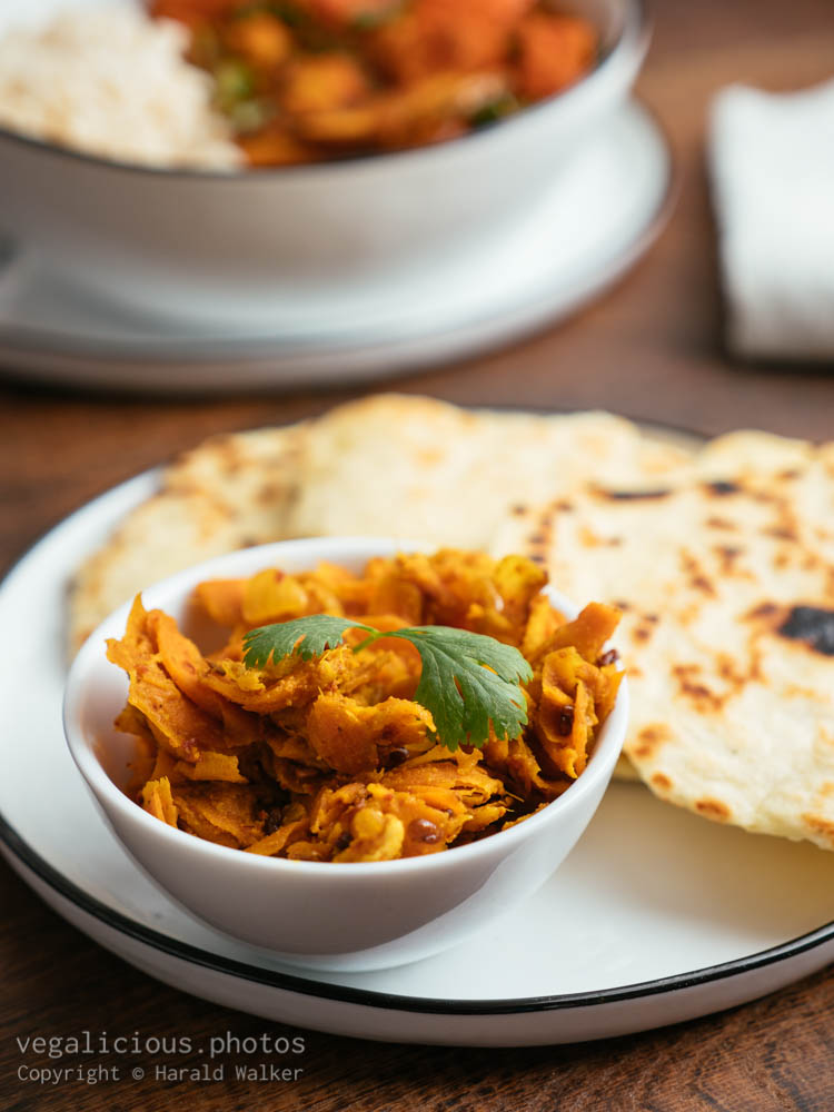Stock photo of Naan bread and carrot and ginger pickle