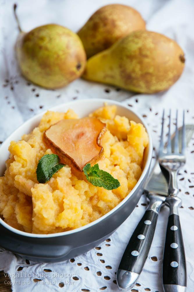 Stock photo of Mashed Rutabaga and Roasted Pears