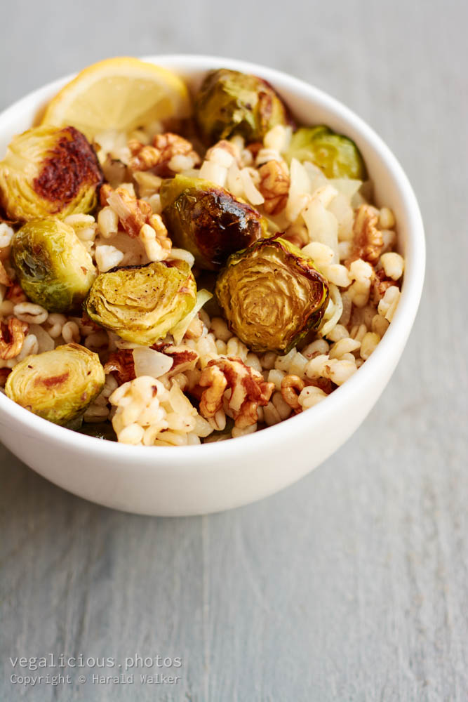 Stock photo of Lemony Wheat Berries with Brussels Sprouts and Walnuts