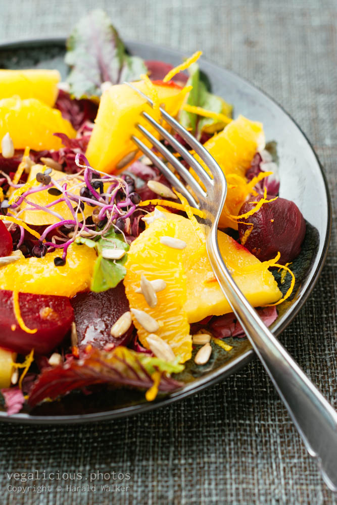 Stock photo of Sweet Sour Salad with Beets, Rutabaga and Oranges