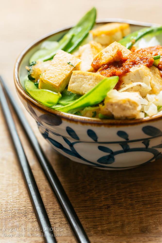 Stock photo of Thai style tofu and snow peas