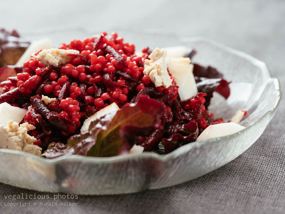 Stock photo of Shoestring Beets with Pearl Couscous and Pears