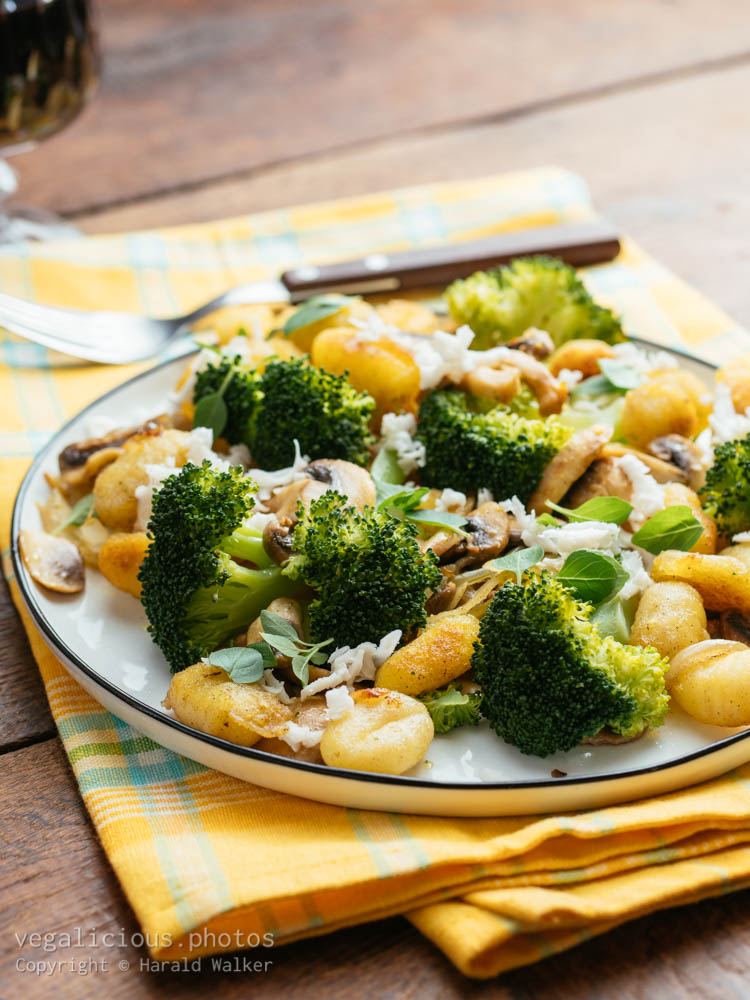 Stock photo of Lemony Gnocchi with Broccoli and Mushrooms