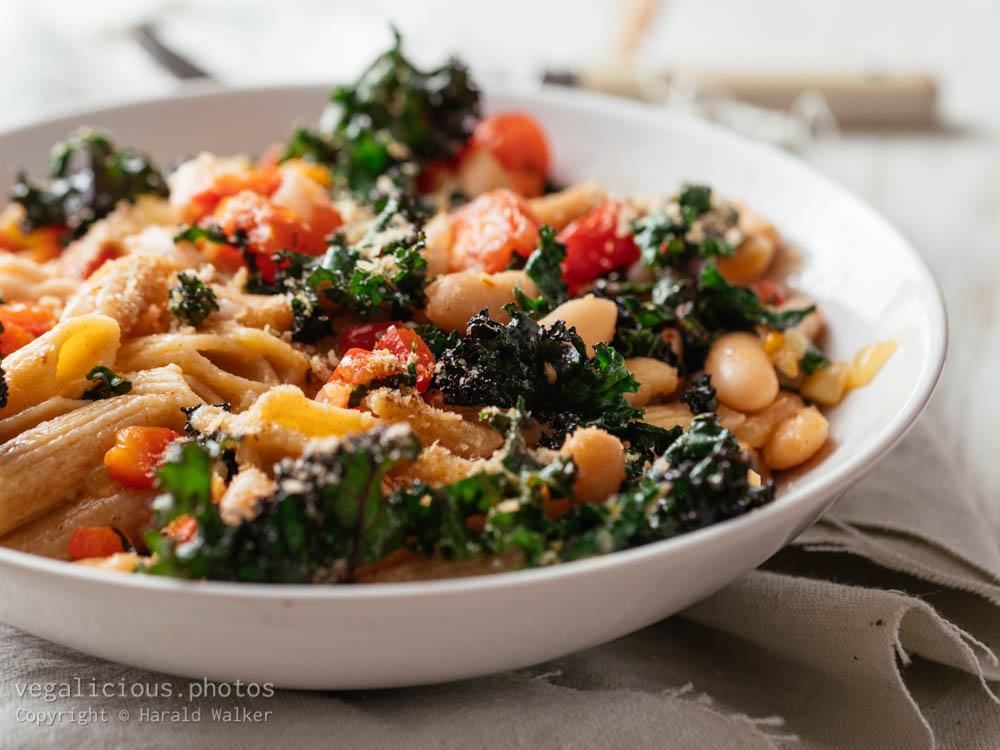 Stock photo of Kale, Pasta and White Beans