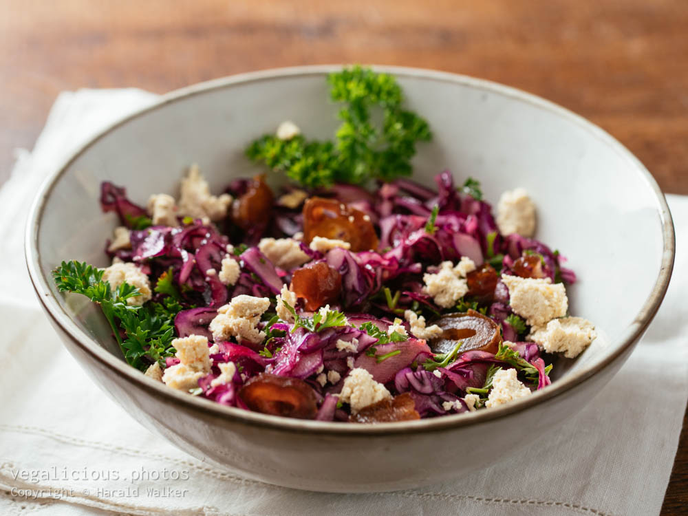 Stock photo of Red Cabbage Slaw with Dates and Vegan feta