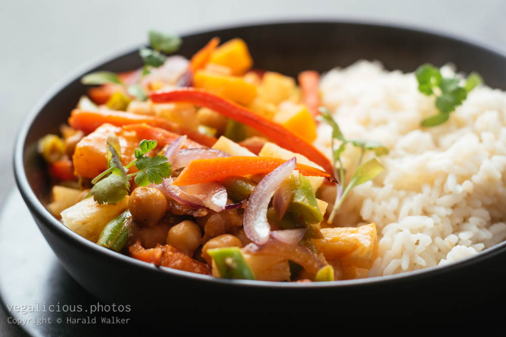 Stock photo of Thai Winter Squash, Green Bean and Chickpea Curry