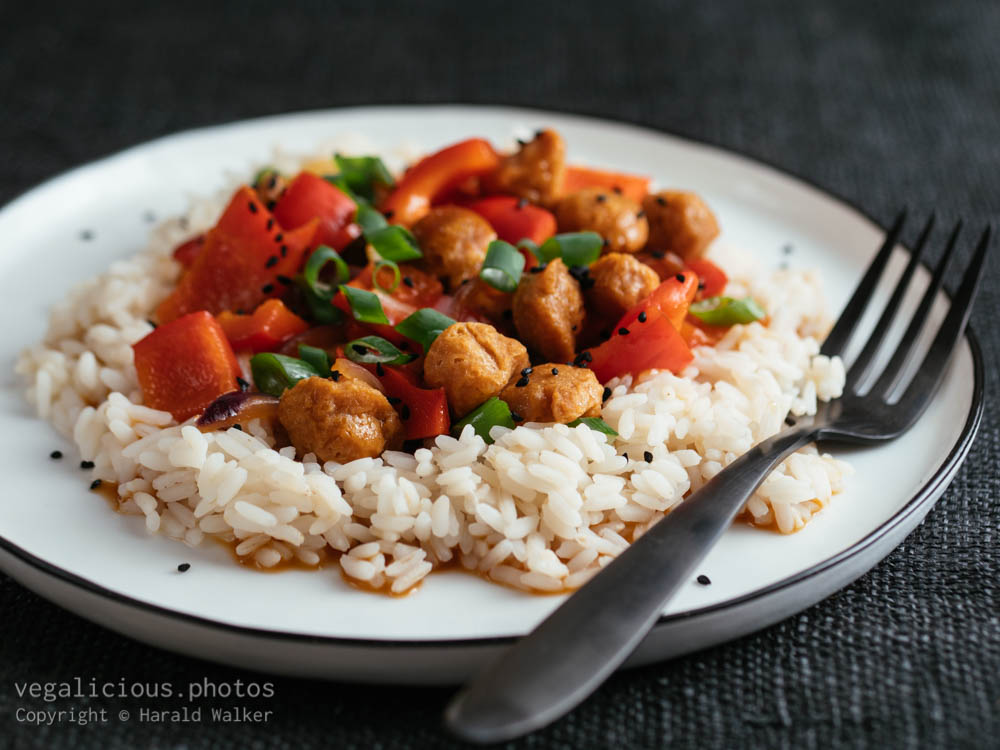 Stock photo of Szechuan TVP Chunks with Peppers