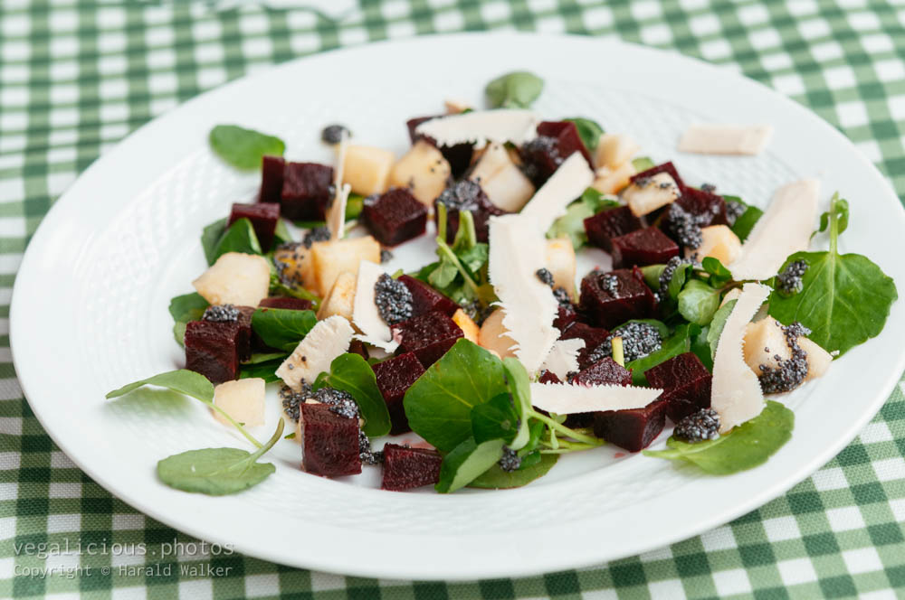 Stock photo of Beet and Pear Salad On Watercress with Poppyseed Dressing