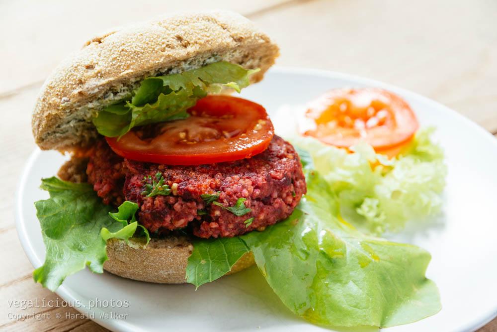 Stock photo of Beetroot Quinoa Burgers