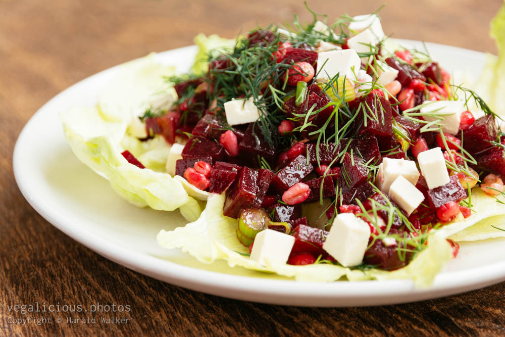 Stock photo of Beet and Barley Salad with Dill Dressing and Soy Cheese
