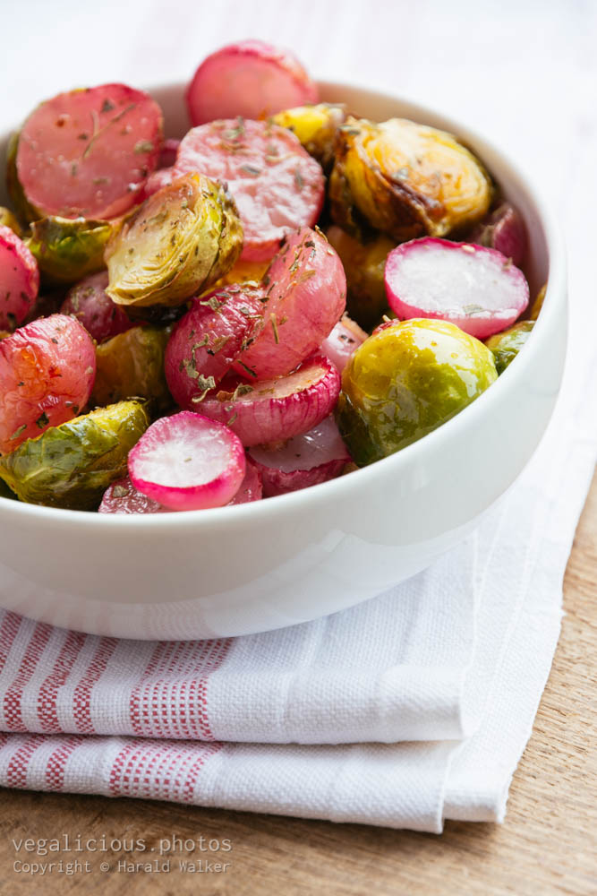 Stock photo of Roasted Brussels sprouts and Radishes