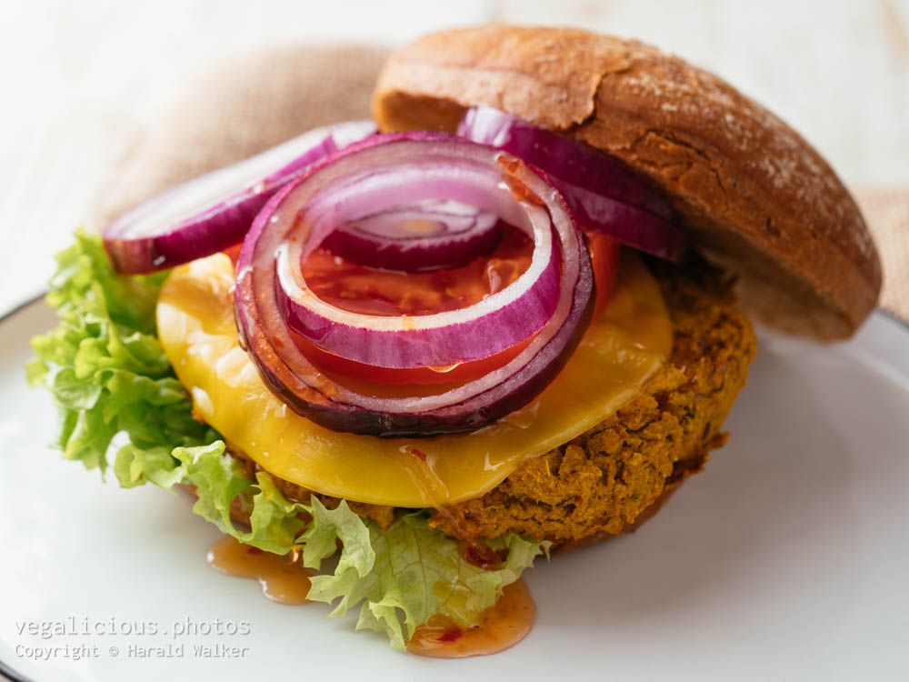 Stock photo of Curried Pumpkin and Chickpea Burger