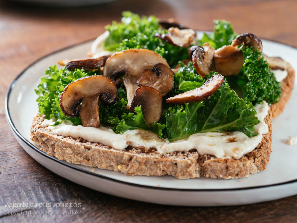 Stock photo of Mushrooms and Kale with Vegan Ricotta on Toast