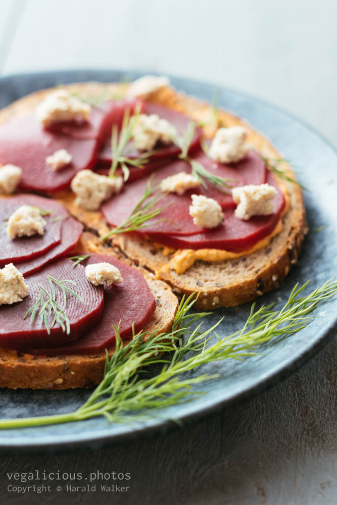 Stock photo of Pickled Beets on Toast with Vegan Feta