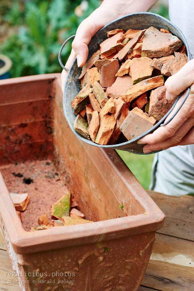 Stock photo of Recycling broken terracotta