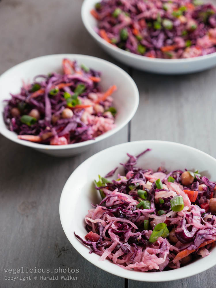 Stock photo of Red Cabbage,Chickpea Slaw with Sauerkraut